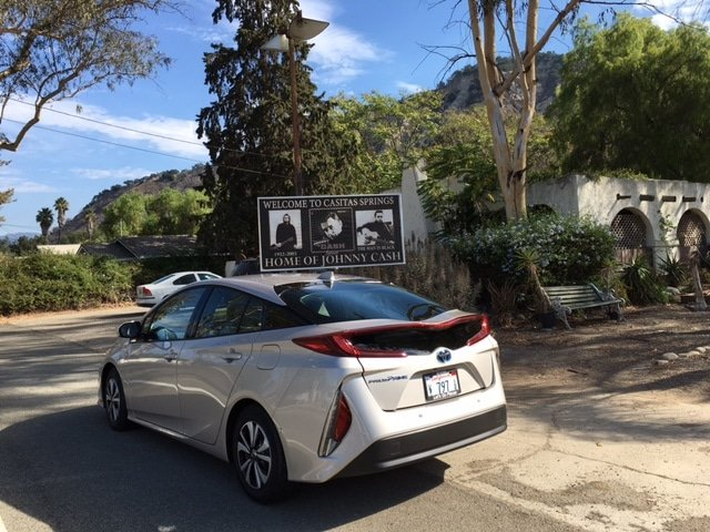 Notice the sexy lip-tailights on the new 2017 Prius Prime - Oh, and what media trip is complete without visiting some important landmark. Here I stopped off at the former home of Johnny Cash in Ojai, California.