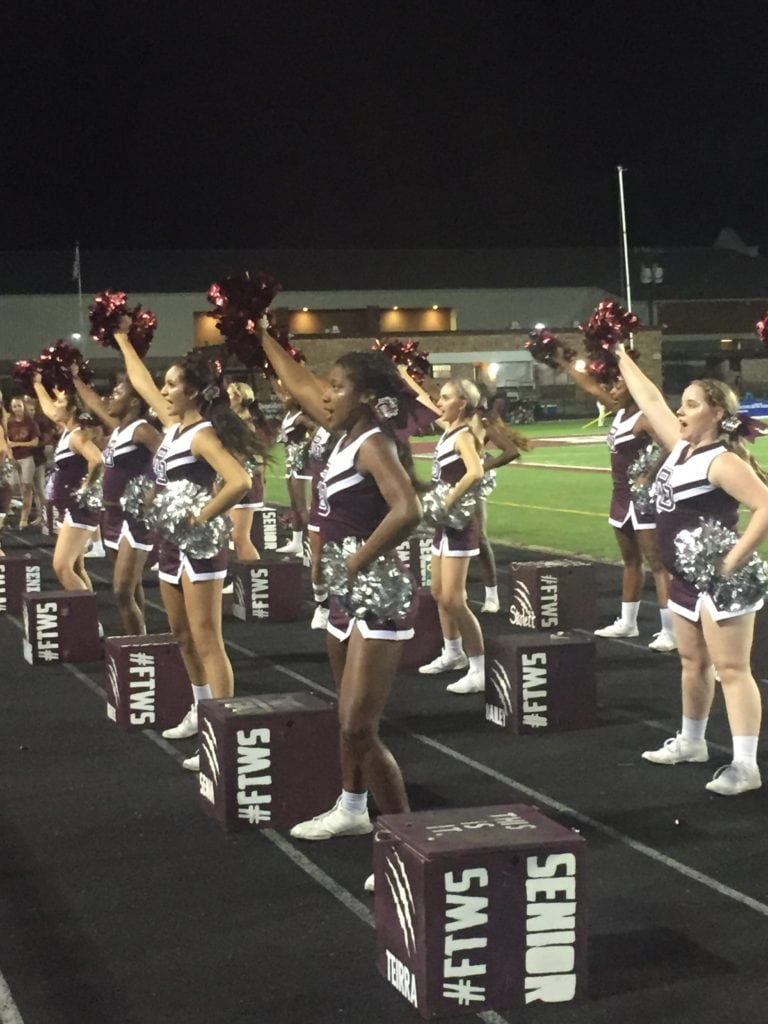 Red Oak Fans and Cheerleaders erupt as the final seconds of the Hawks' first win since 2014. (Tabatha Chovanetz/Focus Daily News)