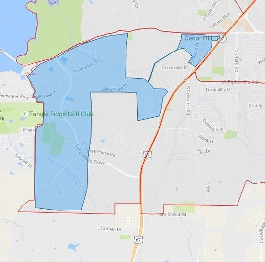 The shaded area on the map shows the vicinity in which local and county health officials will spray for possible west nile carrying mosquitos within the Cedar Hill city limits.