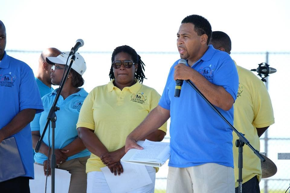 Leon Tate addresses attendees at the annual Glenn Heights Family Fun Day at Heritage Park.