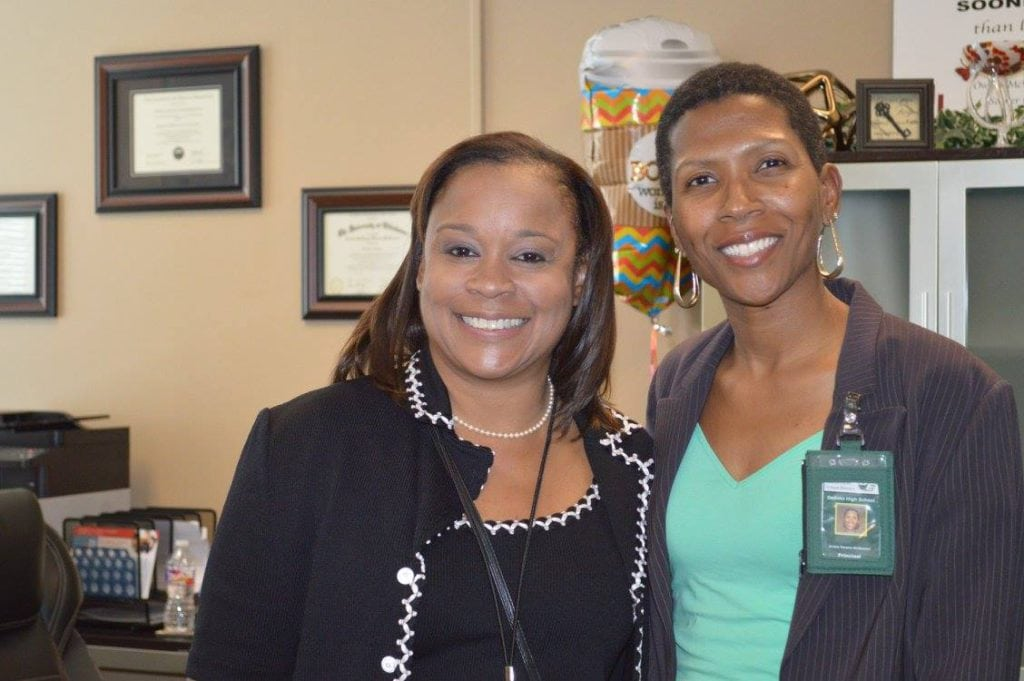 Dr. Monica Williams, UNT Dallas VP for University Advancement, joined DHS Principal Owens-McGowan during the afternoon session.