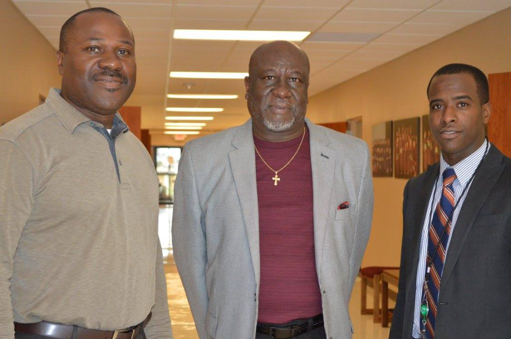 """""""Principal"""" Folks shared duty with WINGS High School speaking with Principal Lewis and Counselor Tubbs."""