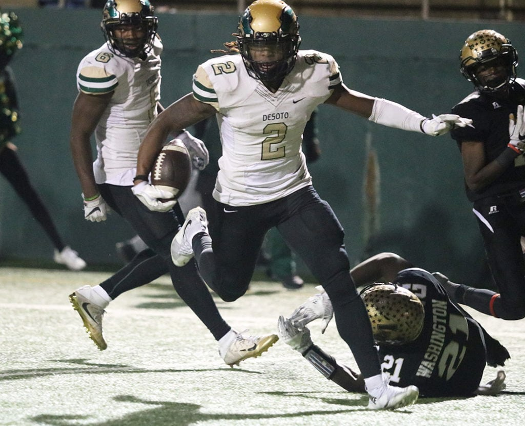 Jamonne Williams scores the first touchdown for the DeSoto Eagles in a game that belonged to the Eagles from Abilene the first half of the game. Williams scored a on run from seven yards out to make the score 7-14 for Abilene. Abilene dominated the first half with an interception and a fumble recovery off an onside kick. But the DeSoto Eagles came back to put the game on ice and advance to a playoff game with Cedar Hill. (Marifer Vega Hernandez/DeSoto H.S.)