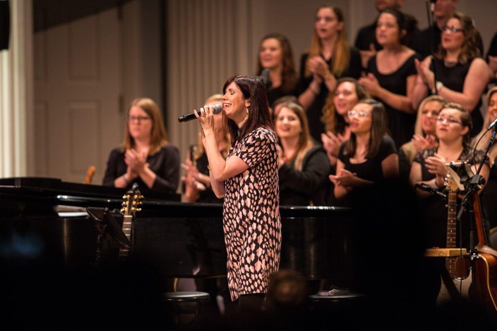 Kristyn Getty sings along with students from Dallas Baptist University.