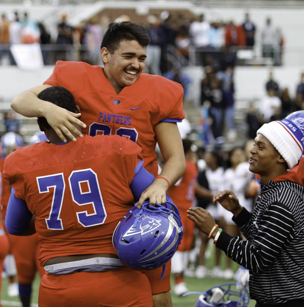 Panthers celebrate after the 32-27 win over Arlington Bowie. (Photo by Dillon Clarke/Duncanville High School)