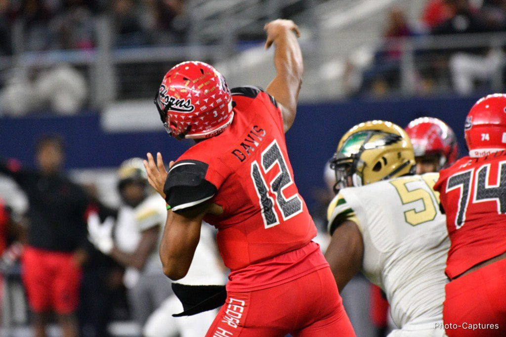 Cedar Hill QB Avery Davis launches a 60 yard pass to Charleston Rambo, to bring the score 21-13 in the second quarter. (Vance Valentine/Special Contributor)