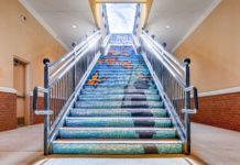 Hillside village staircase mosaic