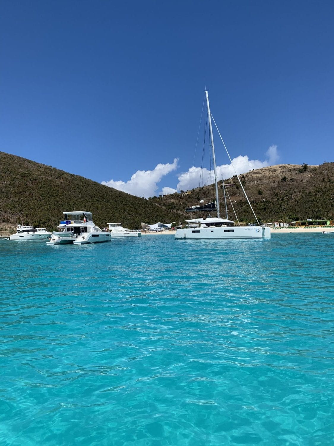 Catamarans anchored in Jost Van Dyke