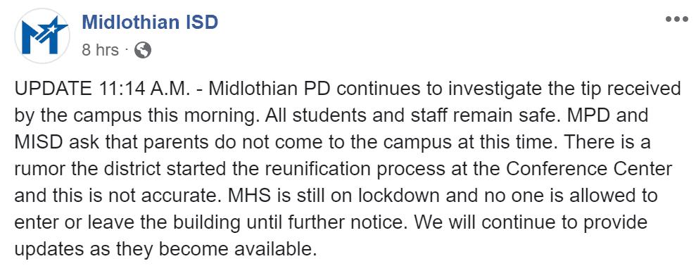 Midlothian High Lockdown update
