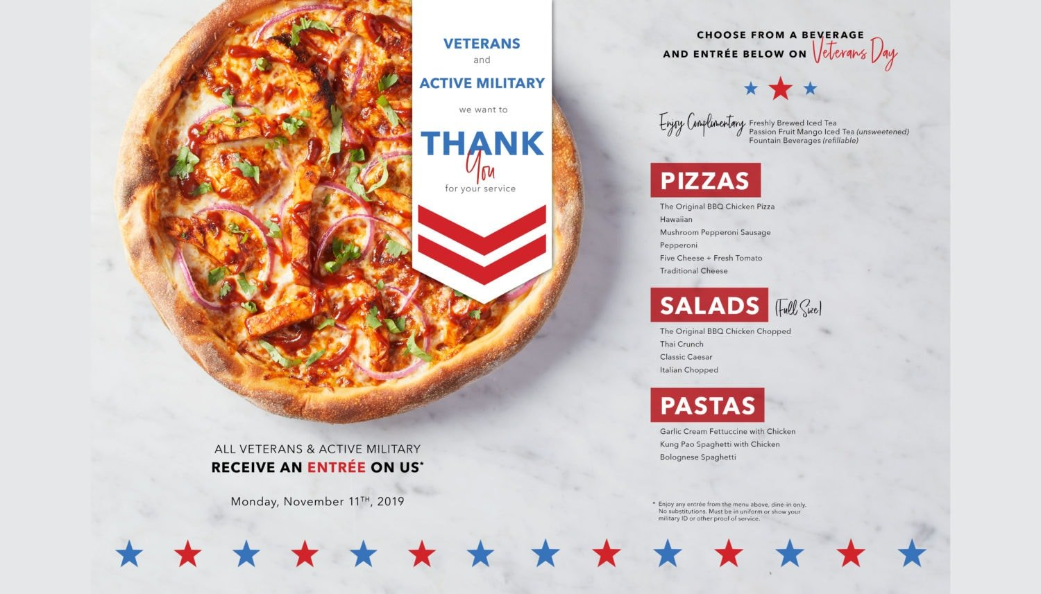 2019 Veterans Day free meals