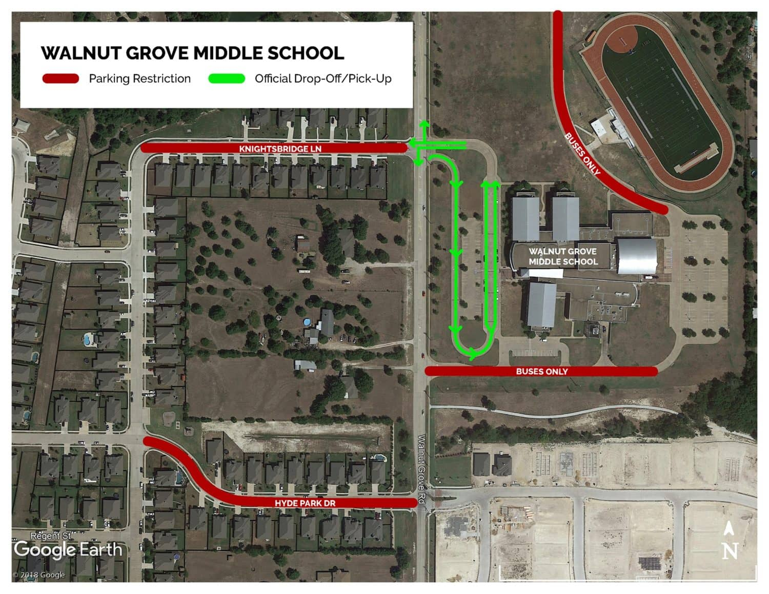 Walnut Grove Middle drop off map