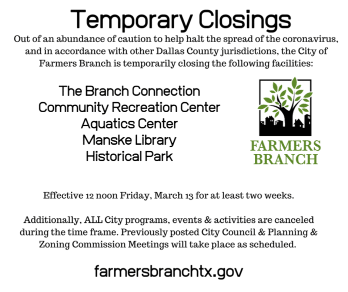 Farmers Branch closures