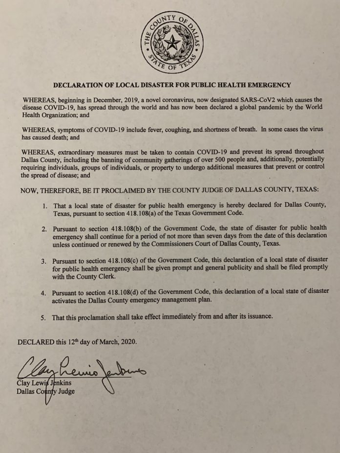 Dallas County COVID19 Declaration