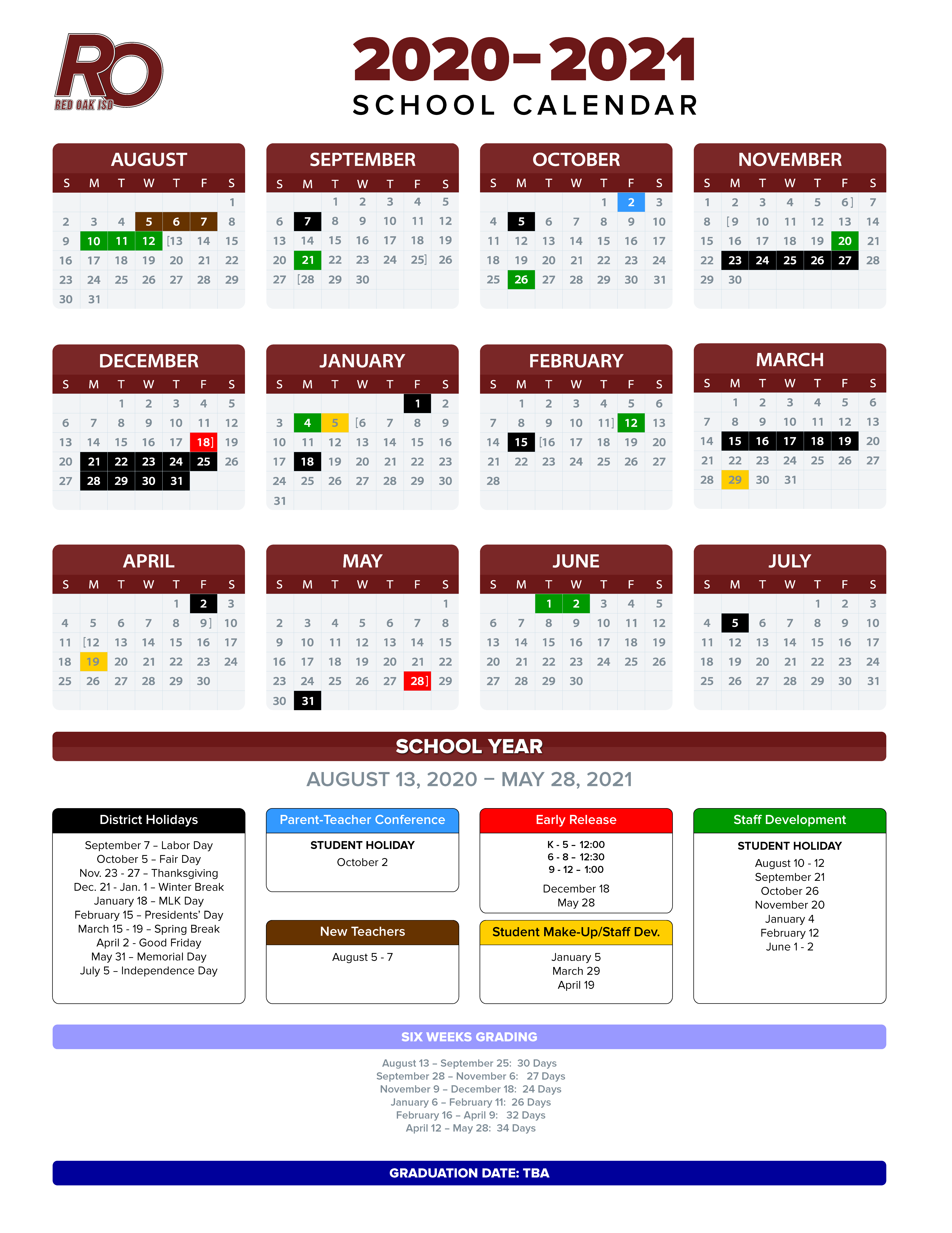 Red Oak ISD 2020-2021 calendar