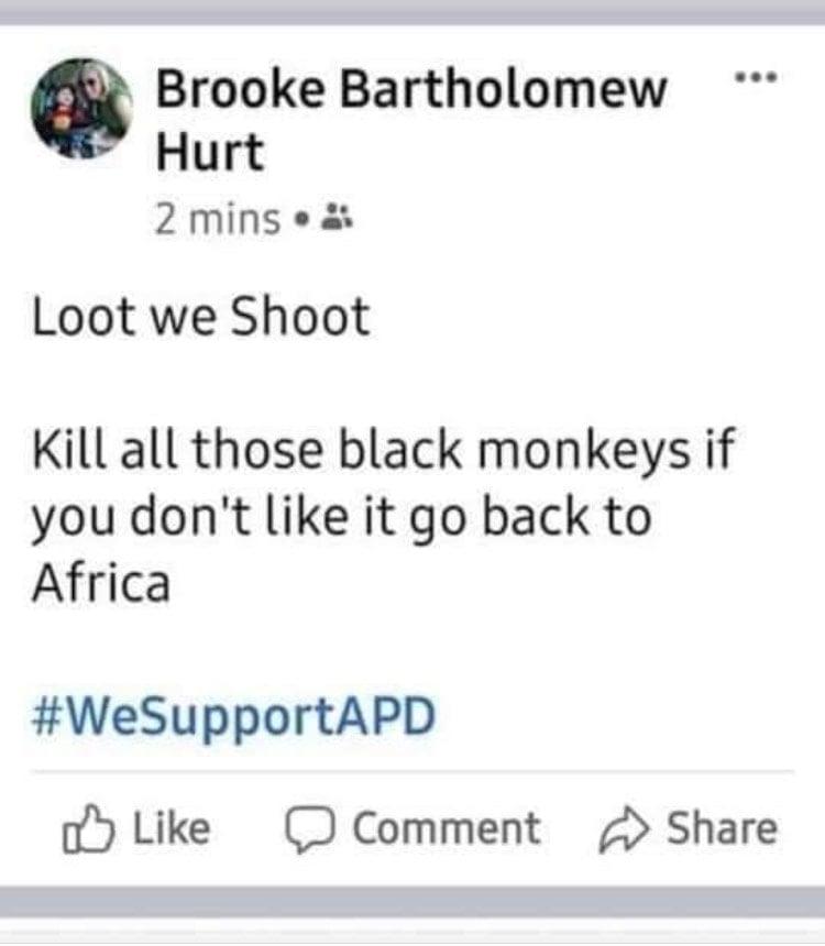 screenshot of Brooke Bartholomew Hurt facebook post