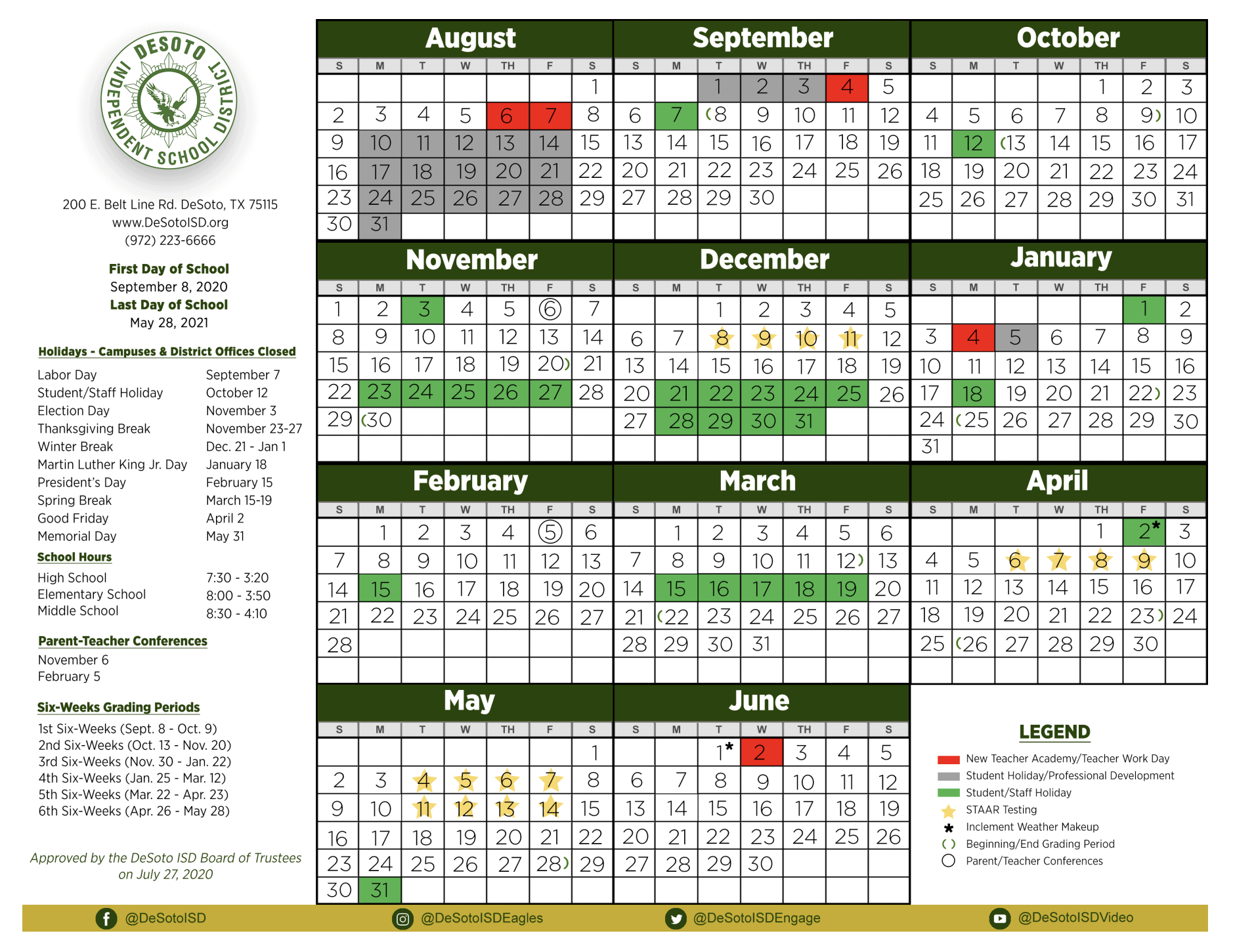 2020-2021 DeSoto ISD Calendar