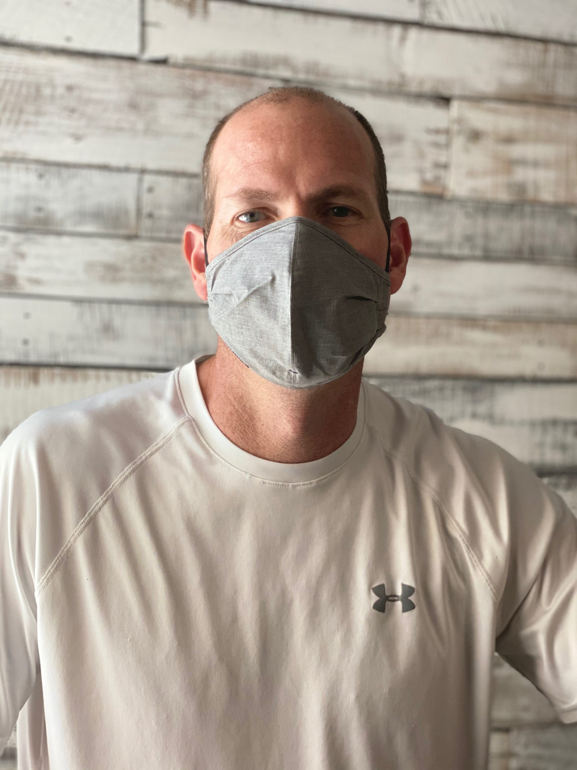 man modeling Proper Cloth face mask