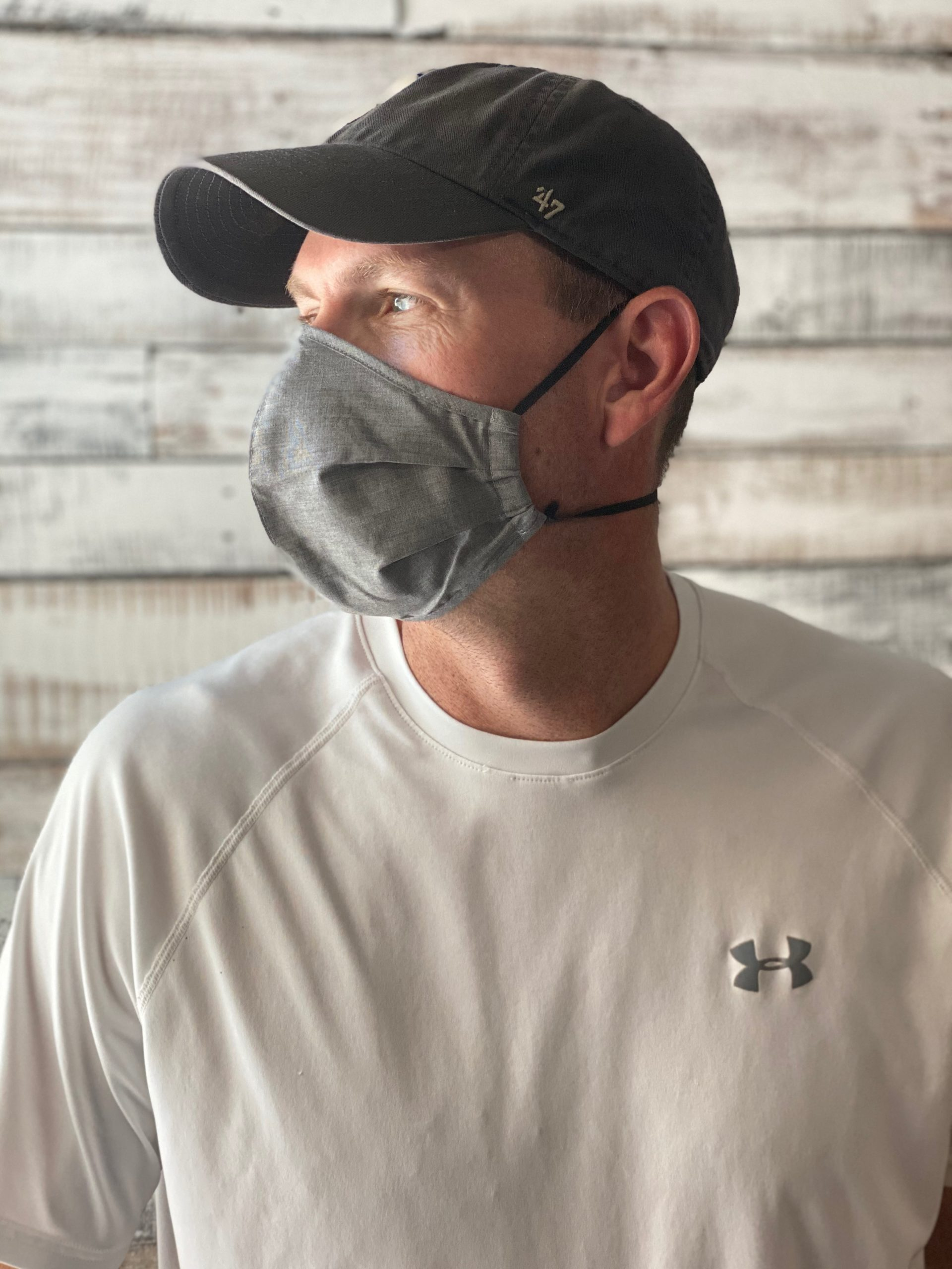 man showing profile view of face mask