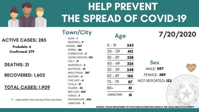 Screenshot Ellis County COVID19 demographic breakdown