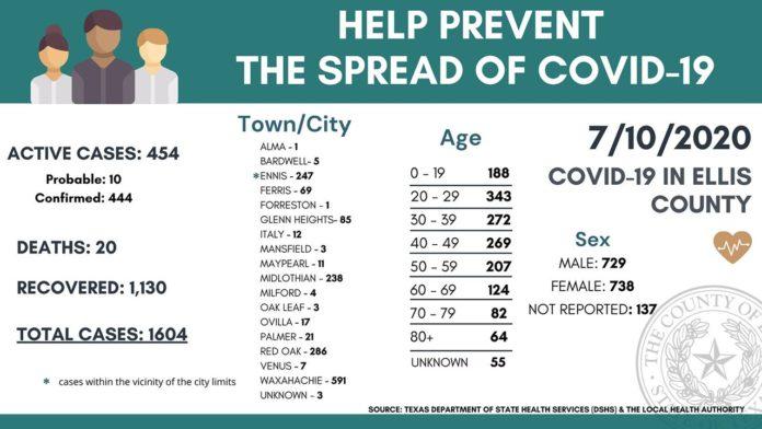 Ellis County demographic breakdown of COVID-19 cases