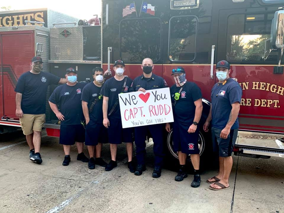 Glenn Heights Fire Department with get well signs