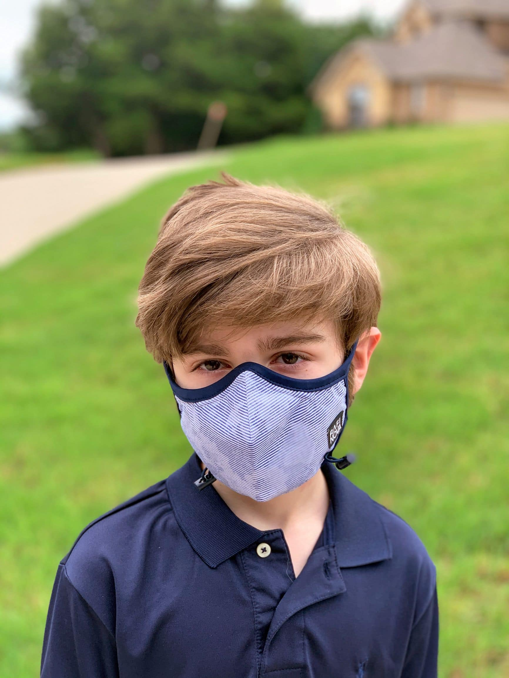 9 year old wearing a teen performance face mask