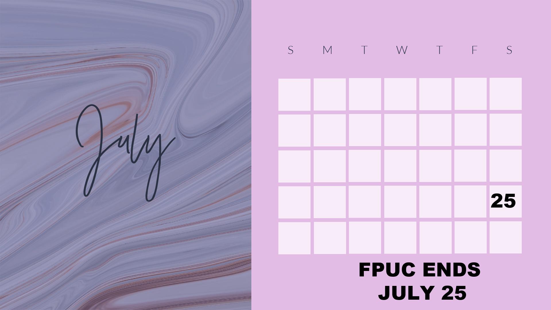 JUly 2020 calendar graphic