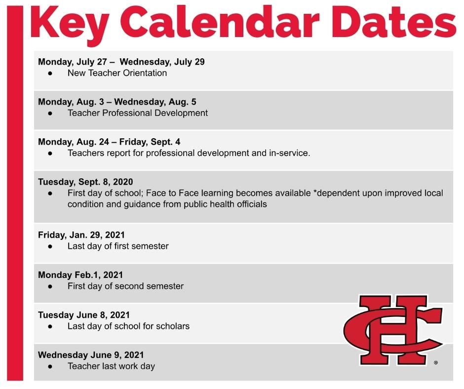 CHISD Key Calendar Dates