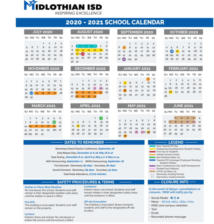 Midlothian ISD 2020-2021 school calendar