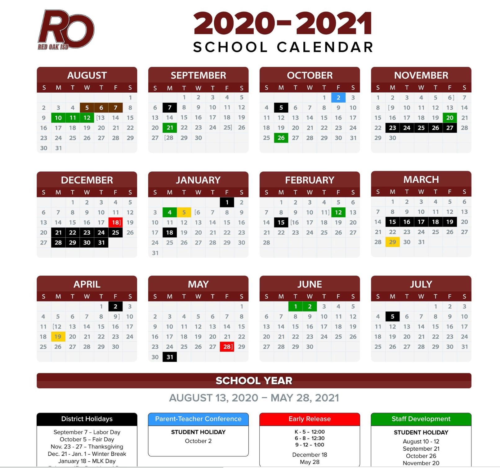 ROISD 2020-2021 calendar