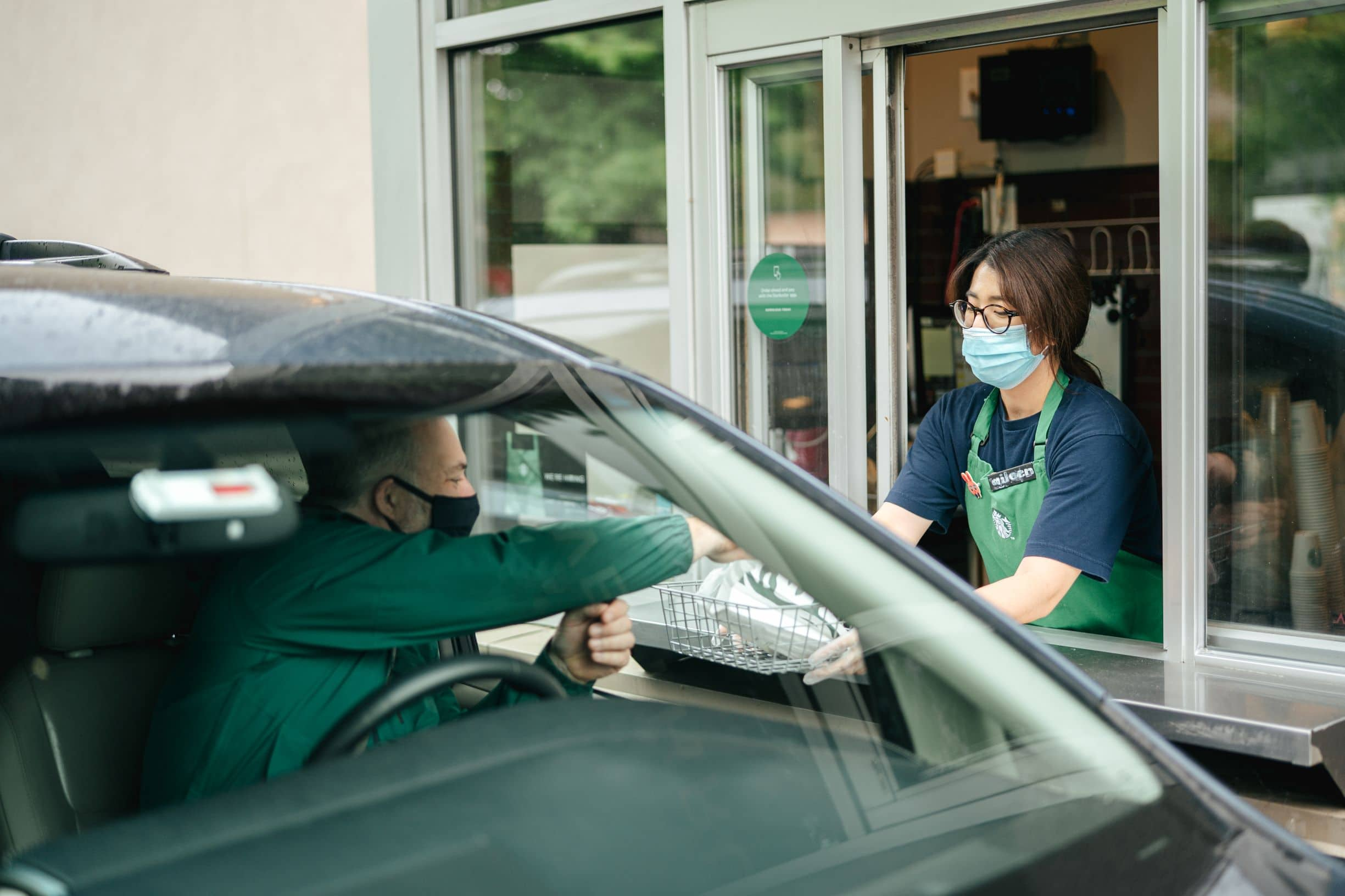 Starbucks drive-thru facemasks