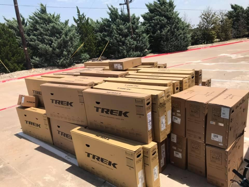 boxes of Trek bikes