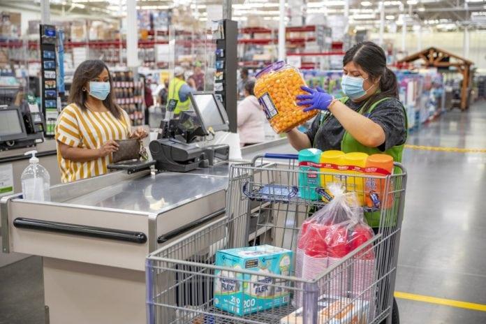 shopper wearing face masks