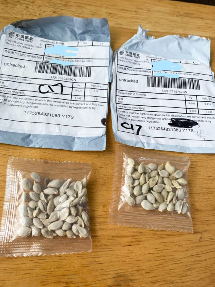 packets of mystery seeds from China