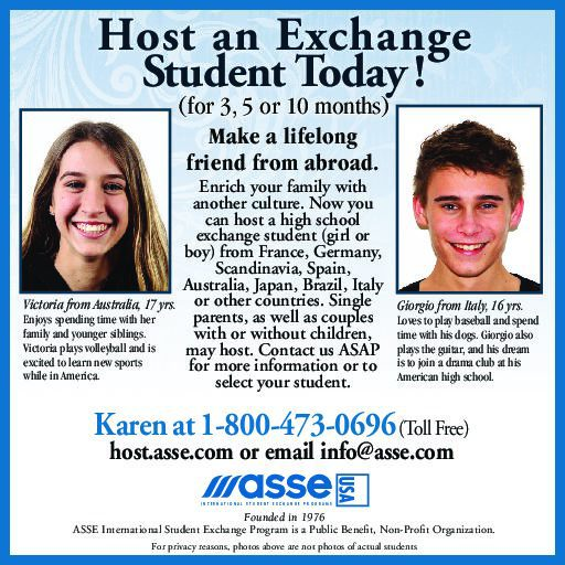 Non-Profit Org. Seeks Local Families to Host High School Exchange Students