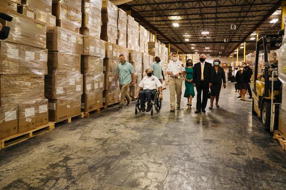 Governor Abbott in TDEM warehouse