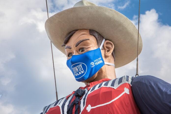 Big Tex wearing a mask