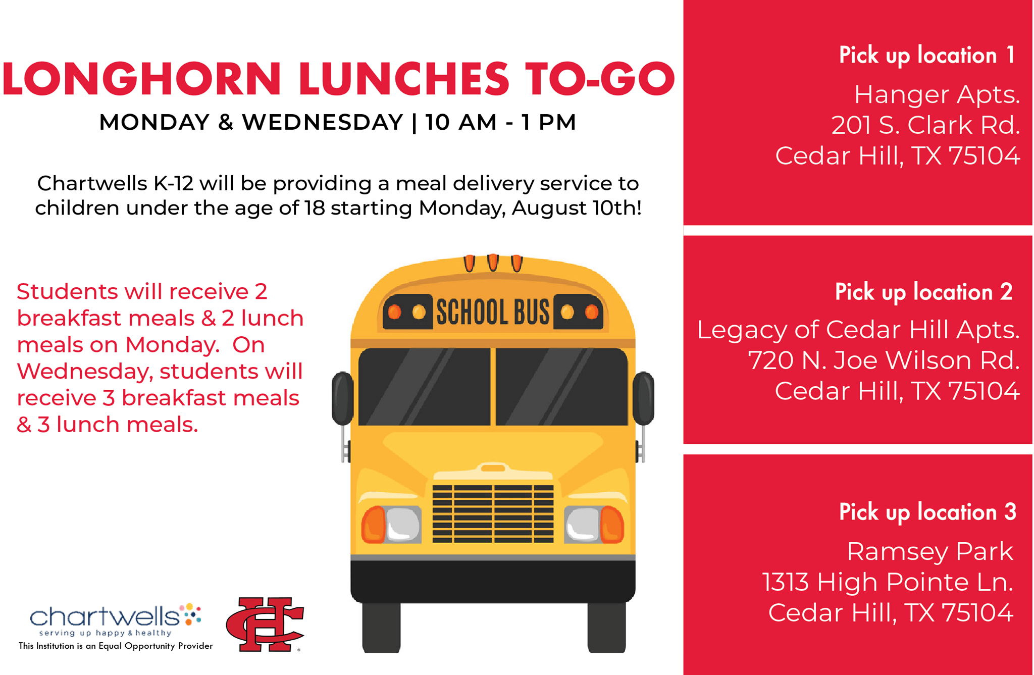 graphic for Cedar Hill ISD lunches