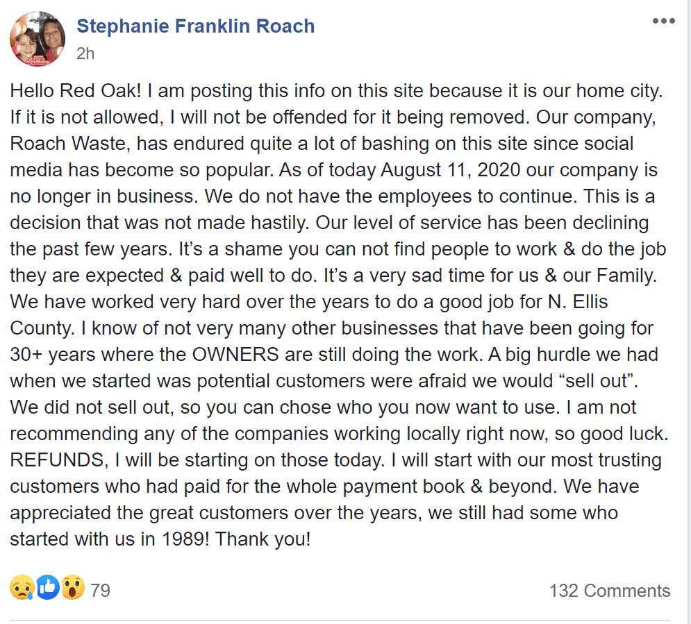 Screenshot of facebook post Roach Waste