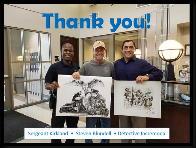Artist Steve Blundell with DeSoto Police Department