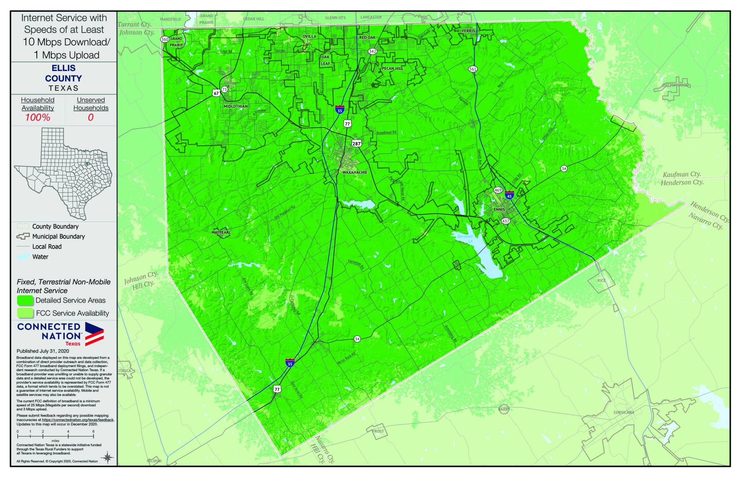 map of broadband coverage in Ellis County