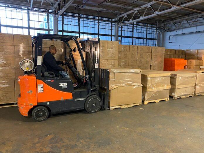 forklift unloading boxes