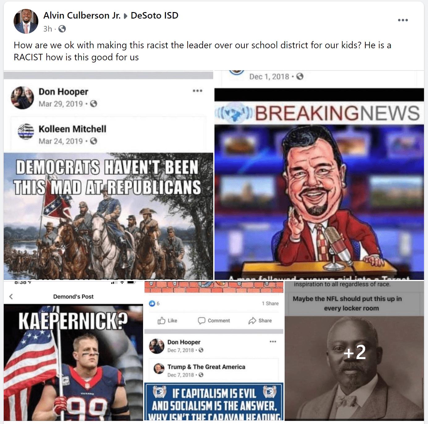 screenshot of facebook posts from Don Hooper