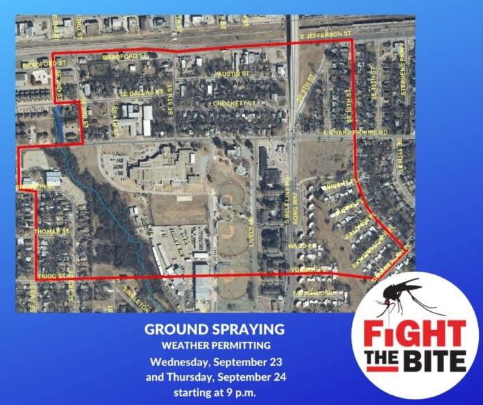 Grand Prairie mosquito spray map