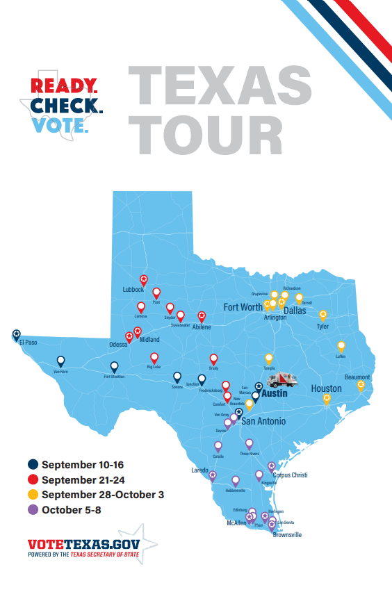 Vote Texas Tour map
