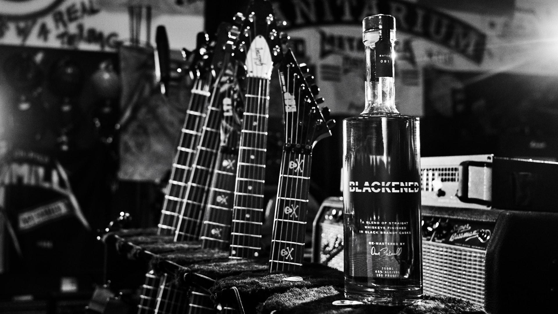 Blackened whiskey bottle