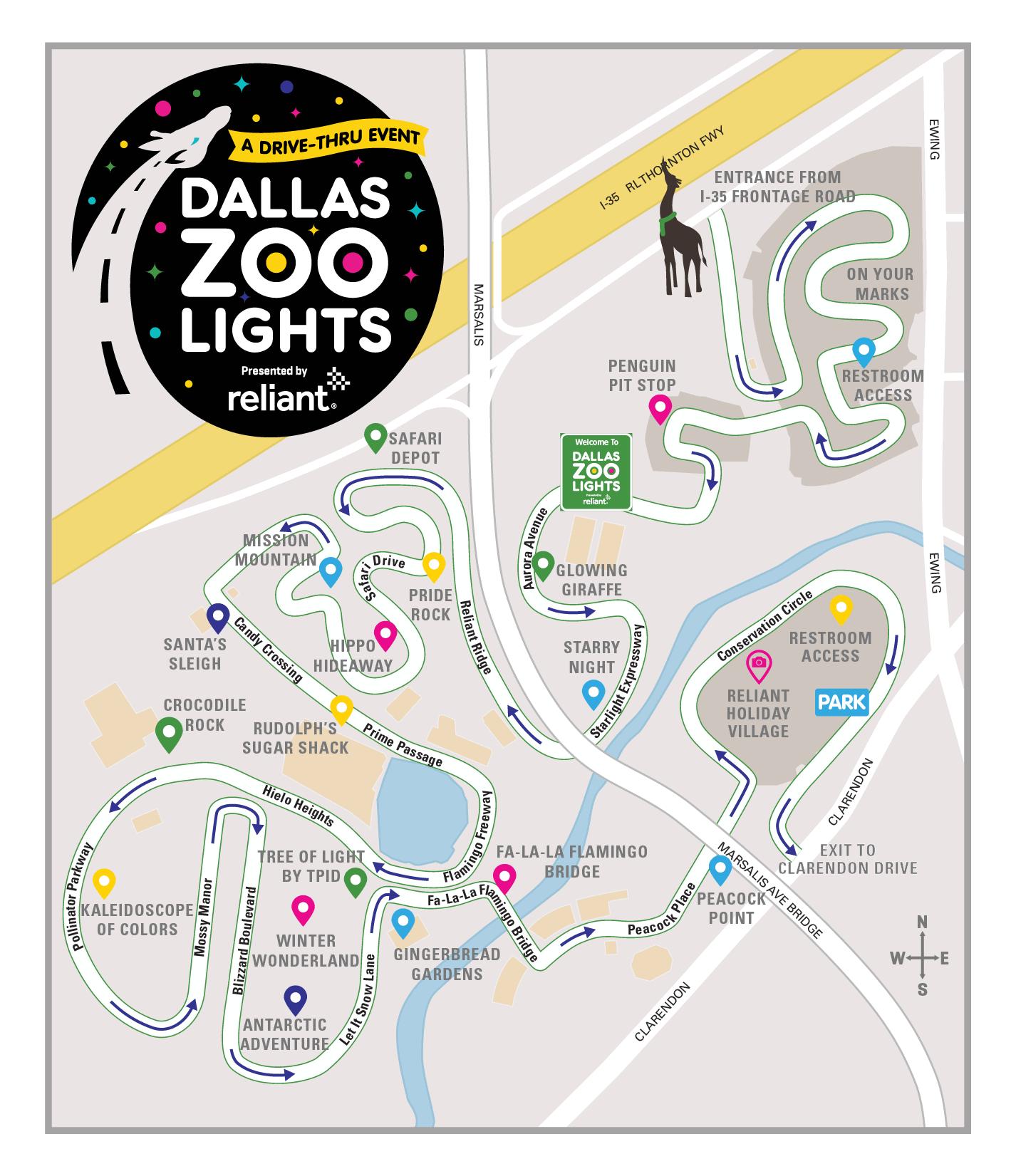 Dallas Zoo lights map