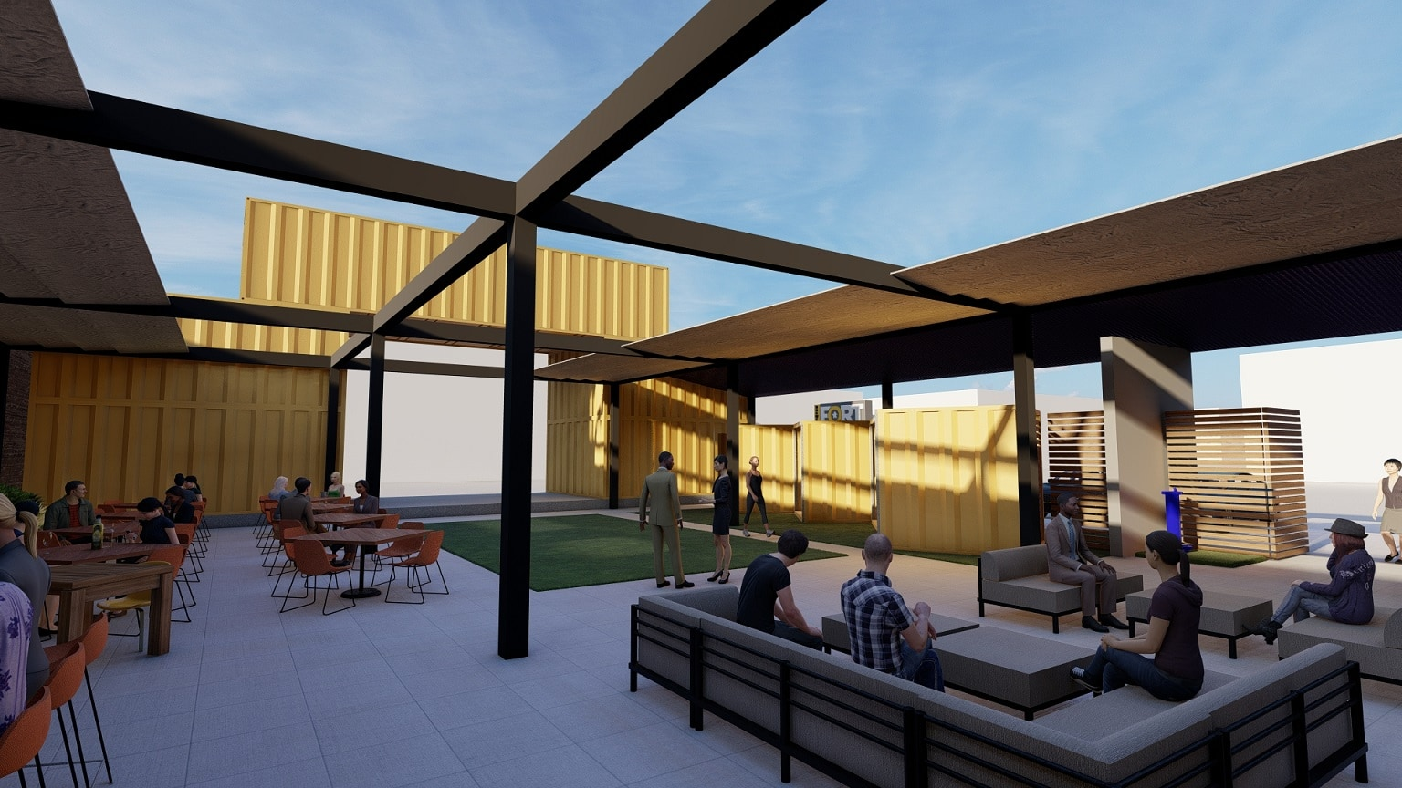 patio rendering of Fort Brewery