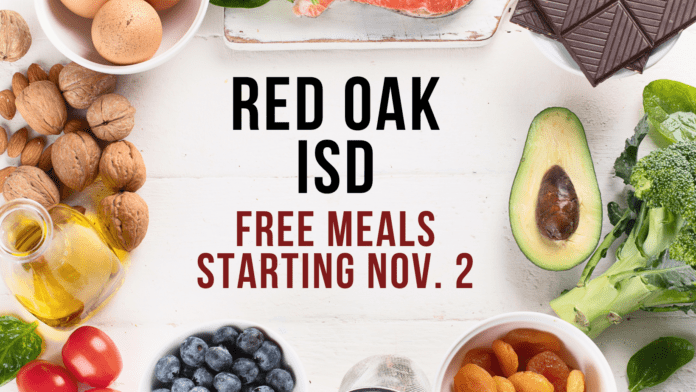Red Oak ISD free meals graphic