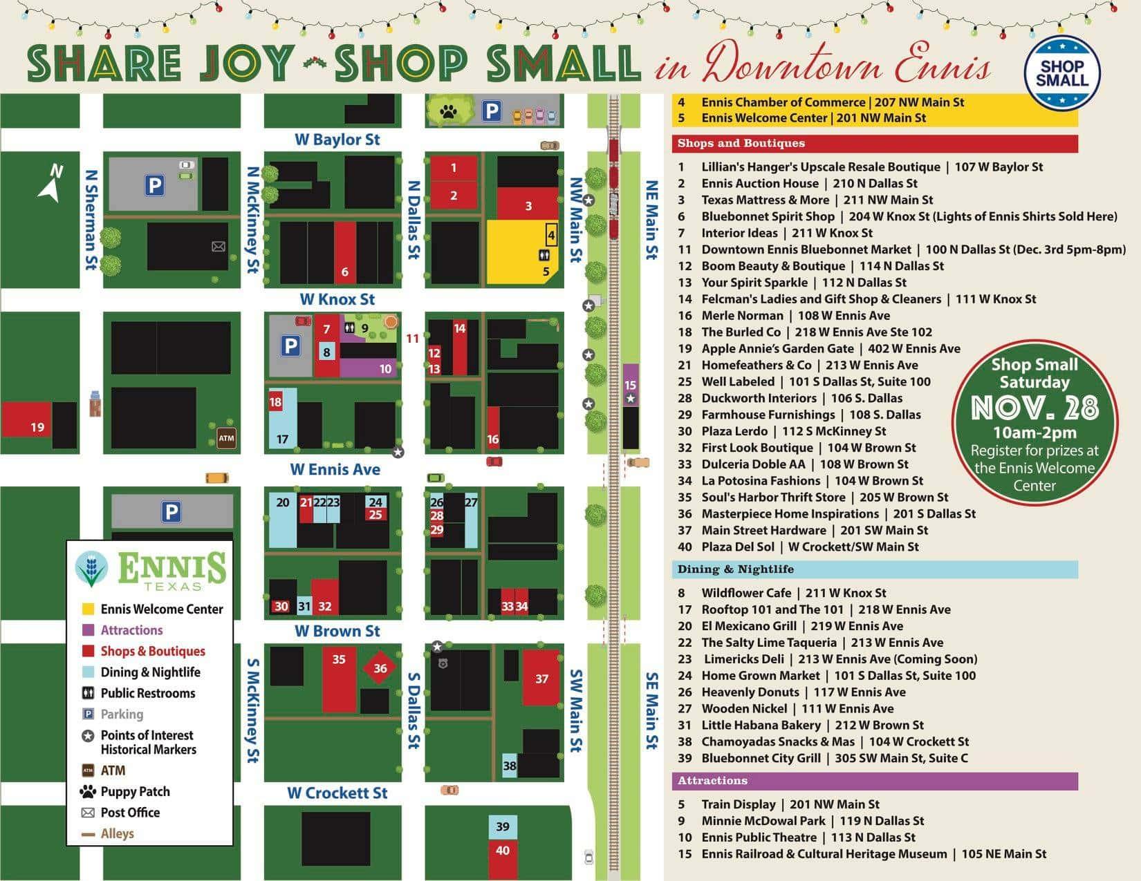 Ennis downtown shopping map